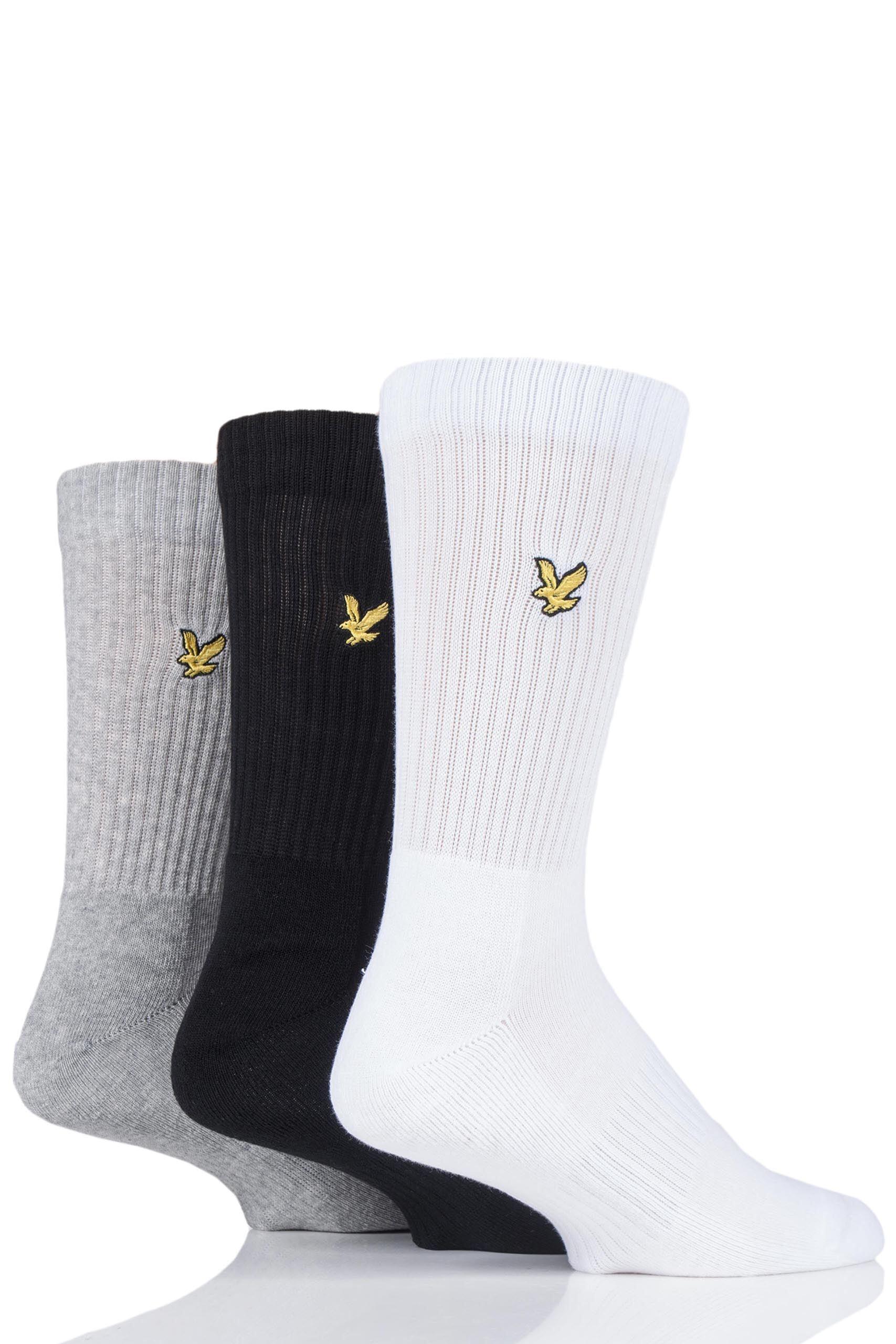 Image of 3 Pair Assorted Hamilton Plain Cotton Sports Socks Men's 7-11 Mens - Lyle & Scott