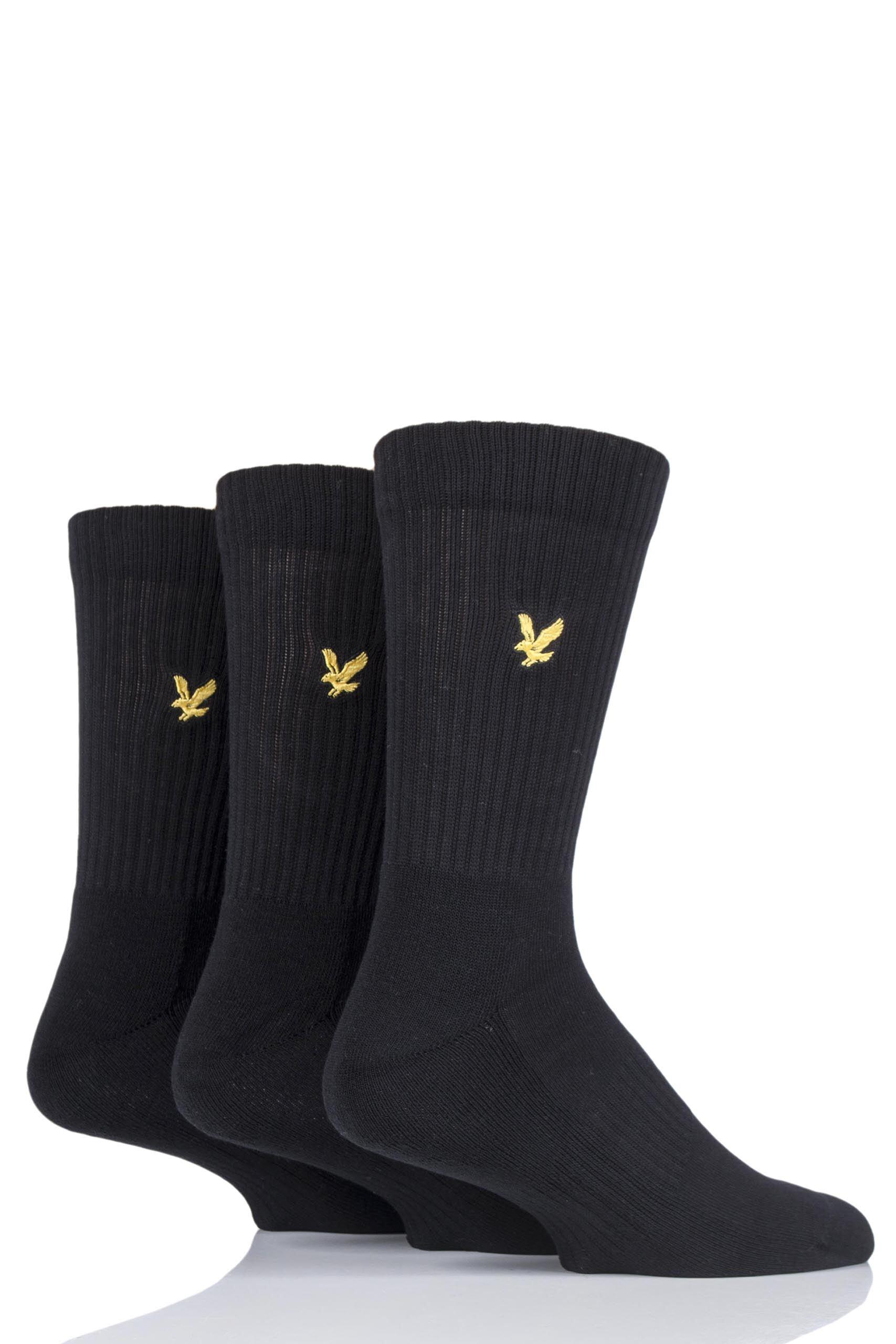 Image of 3 Pair Black Hamilton Plain Cotton Sports Socks Men's 7-11 Mens - Lyle & Scott