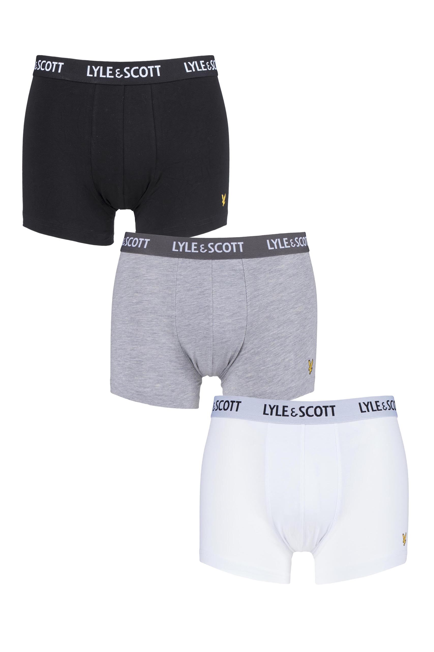 Image of 3 Pair Multi Barclay Cotton Stretch Trunks Men's Small - Lyle & Scott