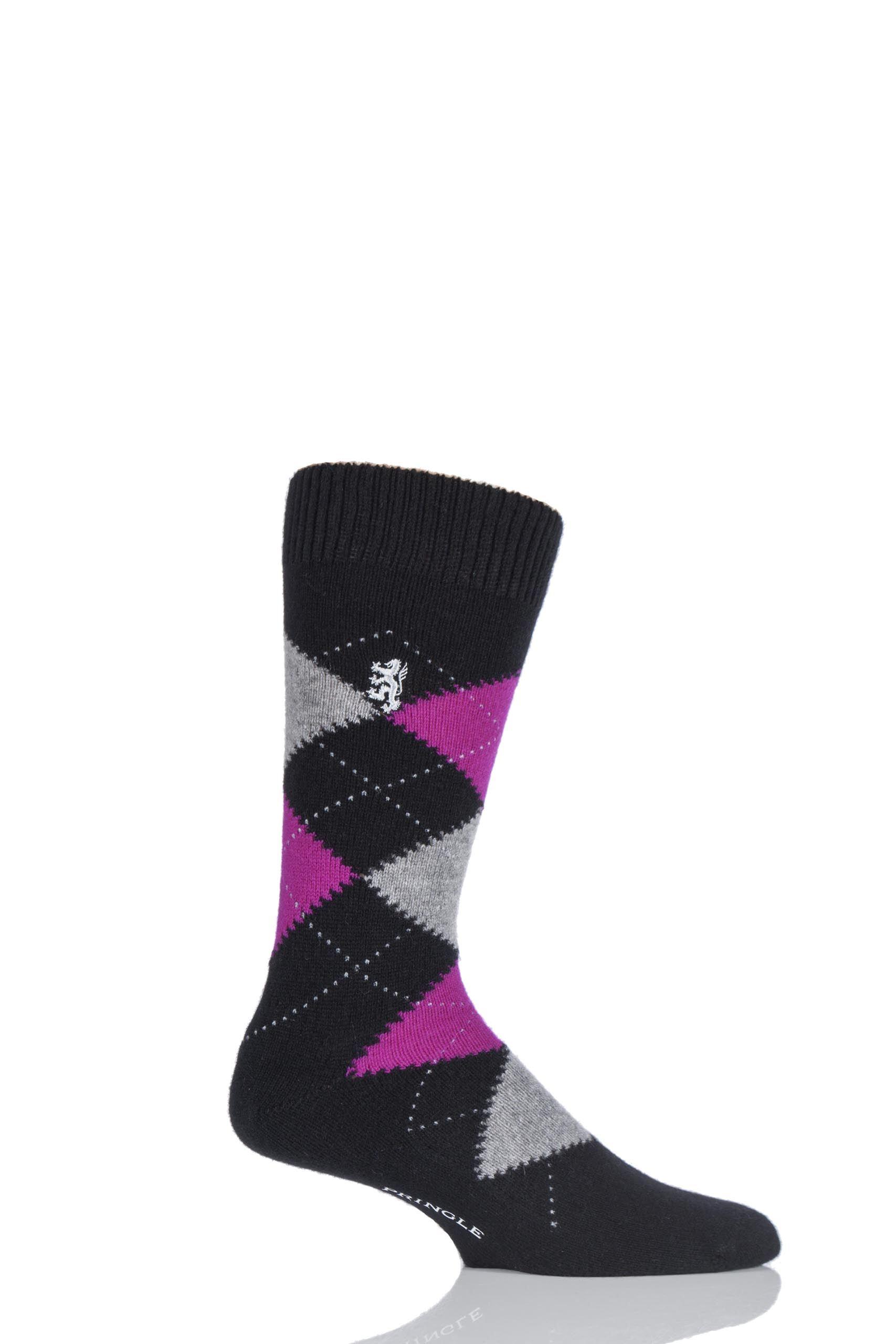 Image of 1 Pair Black 85% Cashmere Argyle Socks Men's 9-11 Mens - Pringle of Scotland