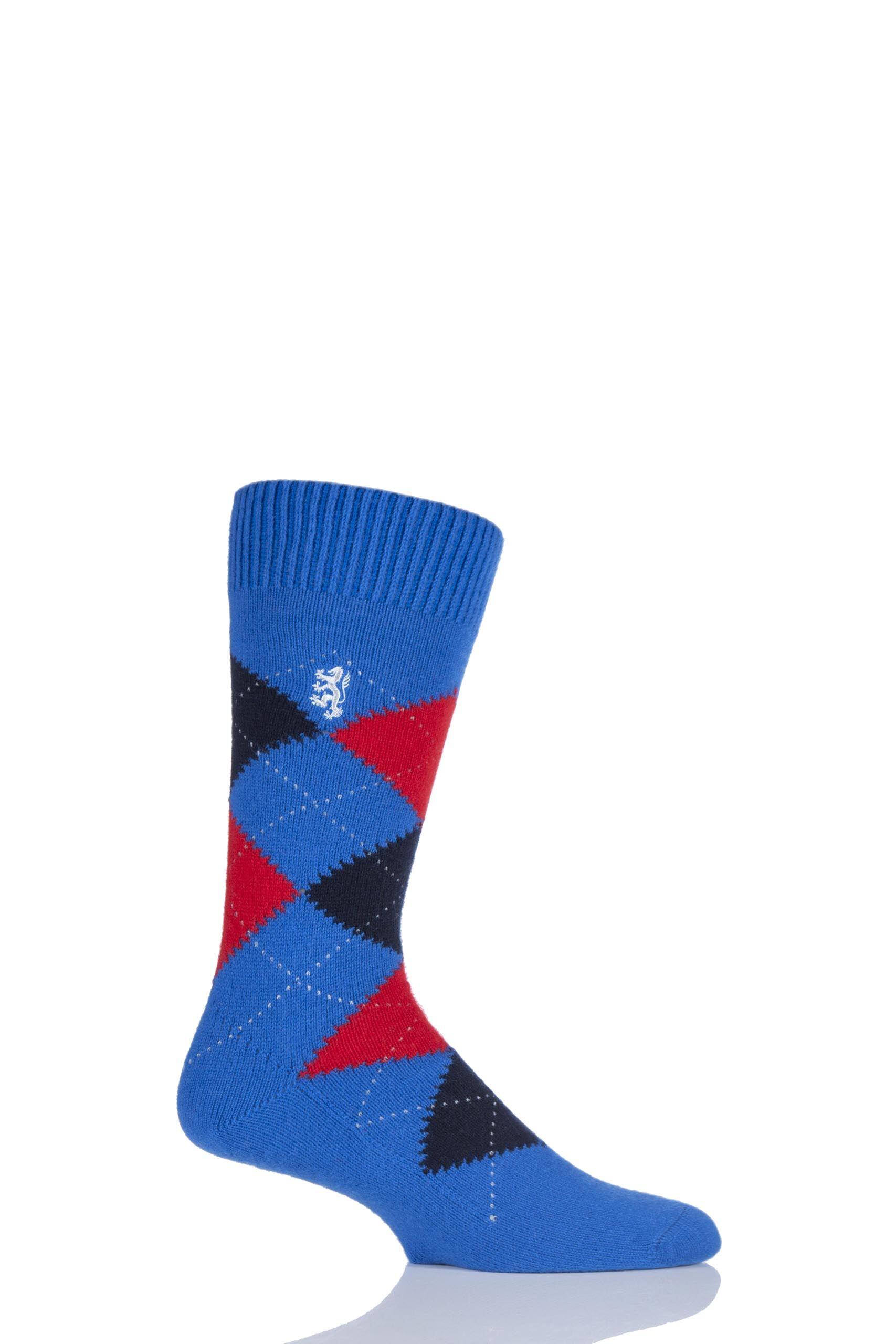 Image of 1 Pair Bright Blue 85% Cashmere Argyle Socks Men's 9-11 Mens - Pringle of Scotland