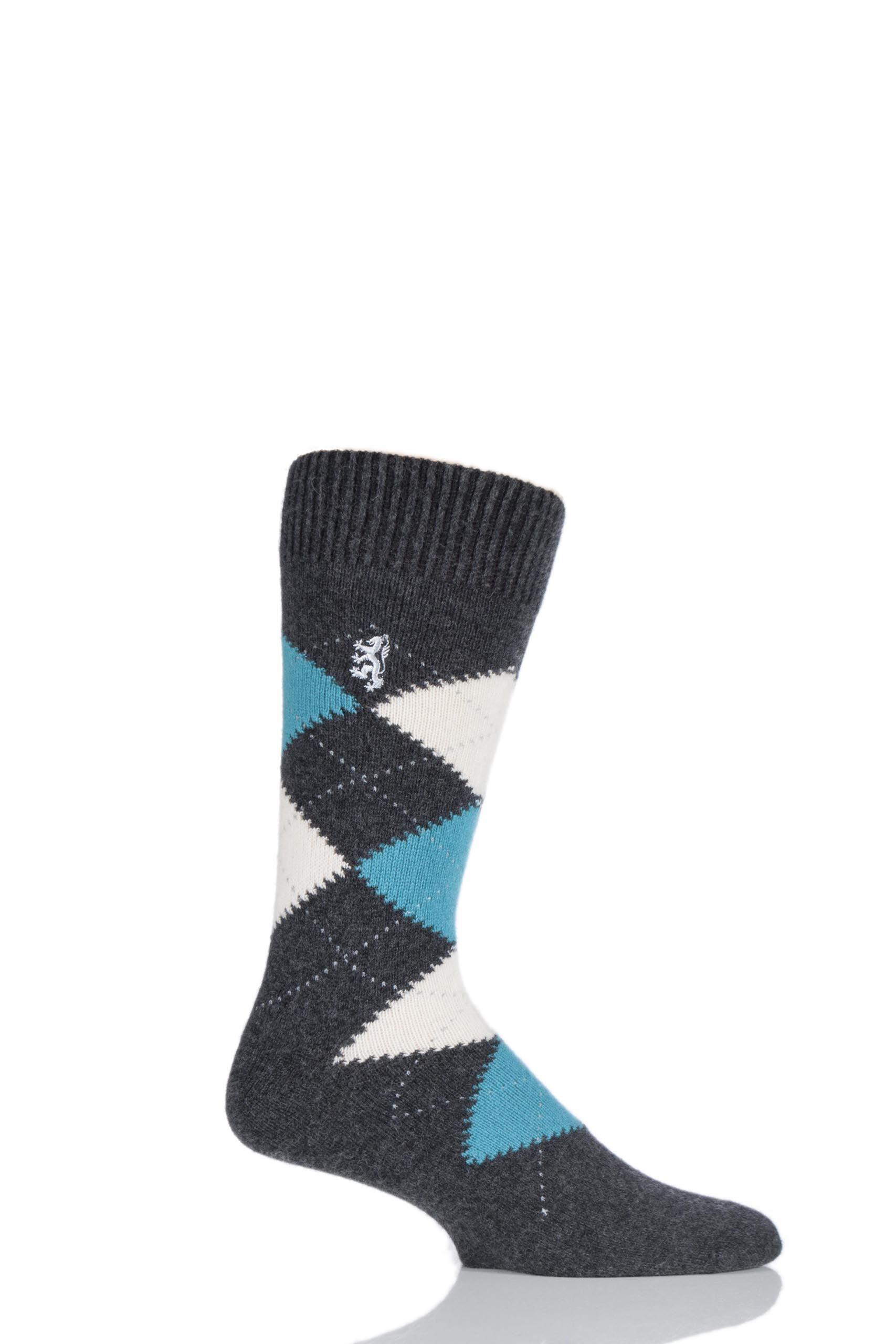 Image of 1 Pair Charcoal 85% Cashmere Argyle Socks Men's 6-8.5 Mens - Pringle of Scotland