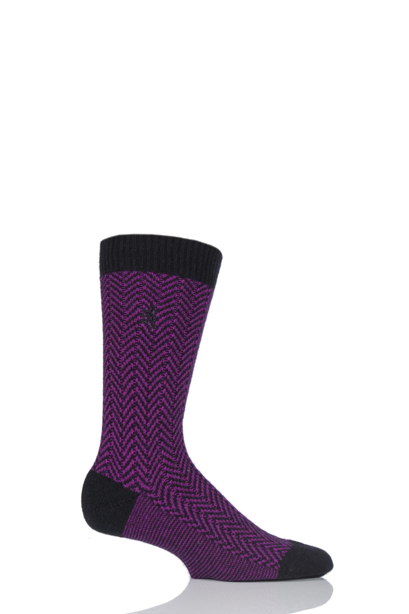 Image of 1 Pair Black 85% Cashmere Herringbone Socks Men's 9-11 Mens - Pringle of Scotland