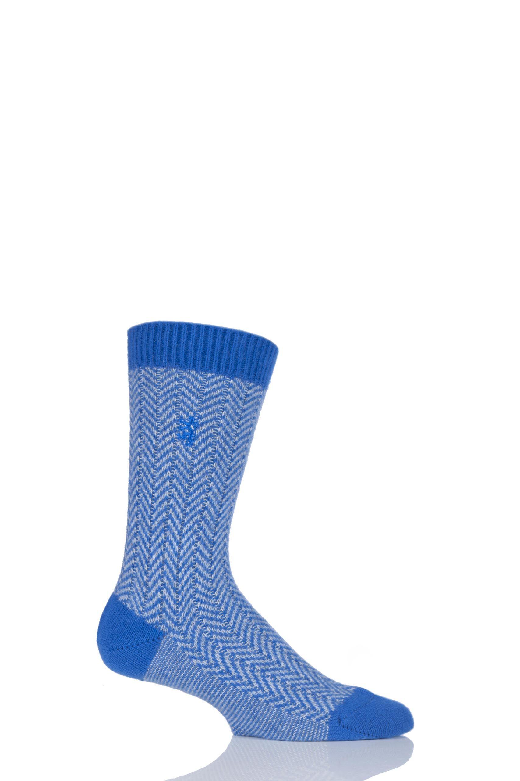 Image of 1 Pair Bright Blue 85% Cashmere Herringbone Socks Men's 6-8.5 Mens - Pringle of Scotland