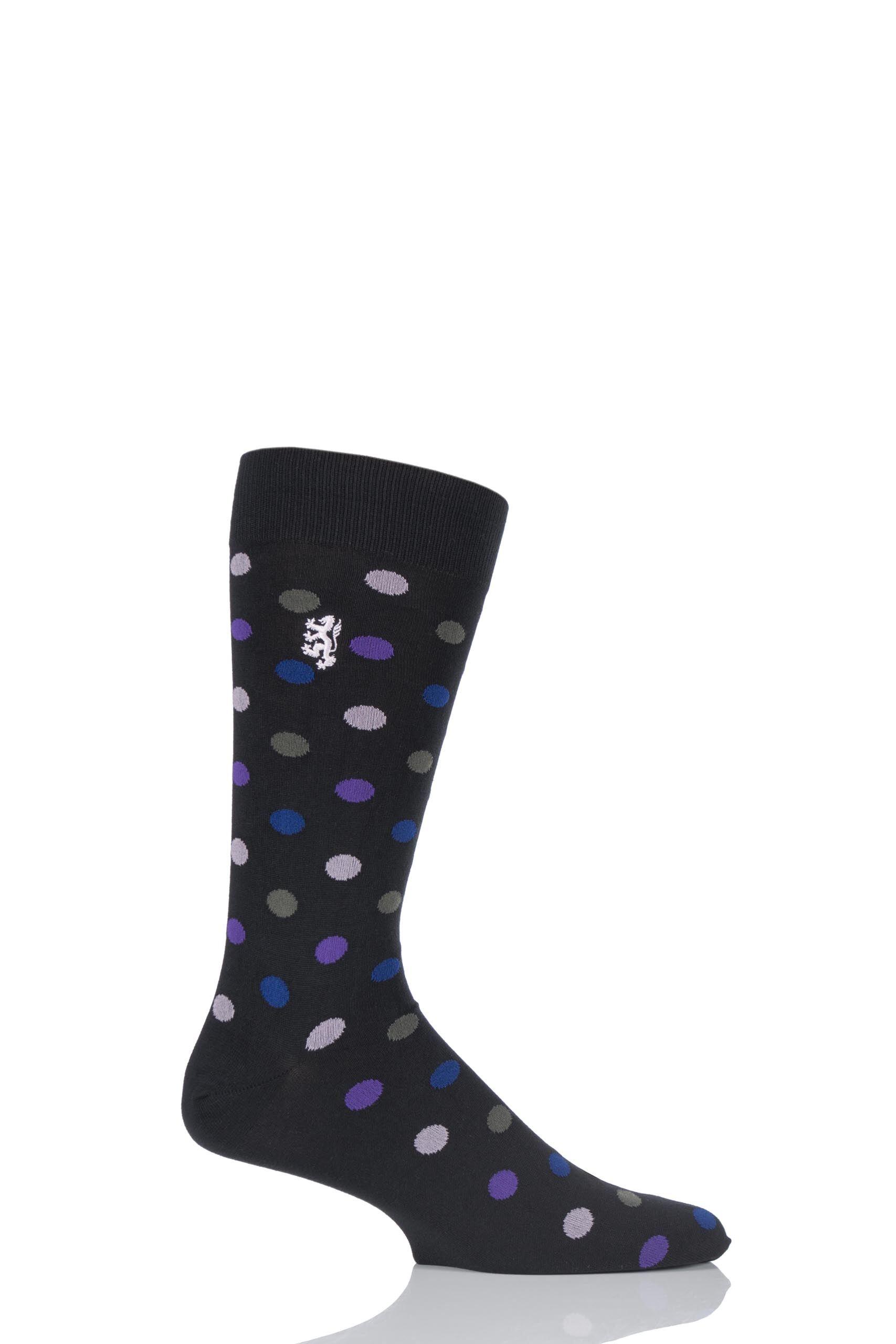Image of 1 Pair Black 80% Sea Island Cotton Spots Socks Men's 6-8.5 Mens - Pringle of Scotland