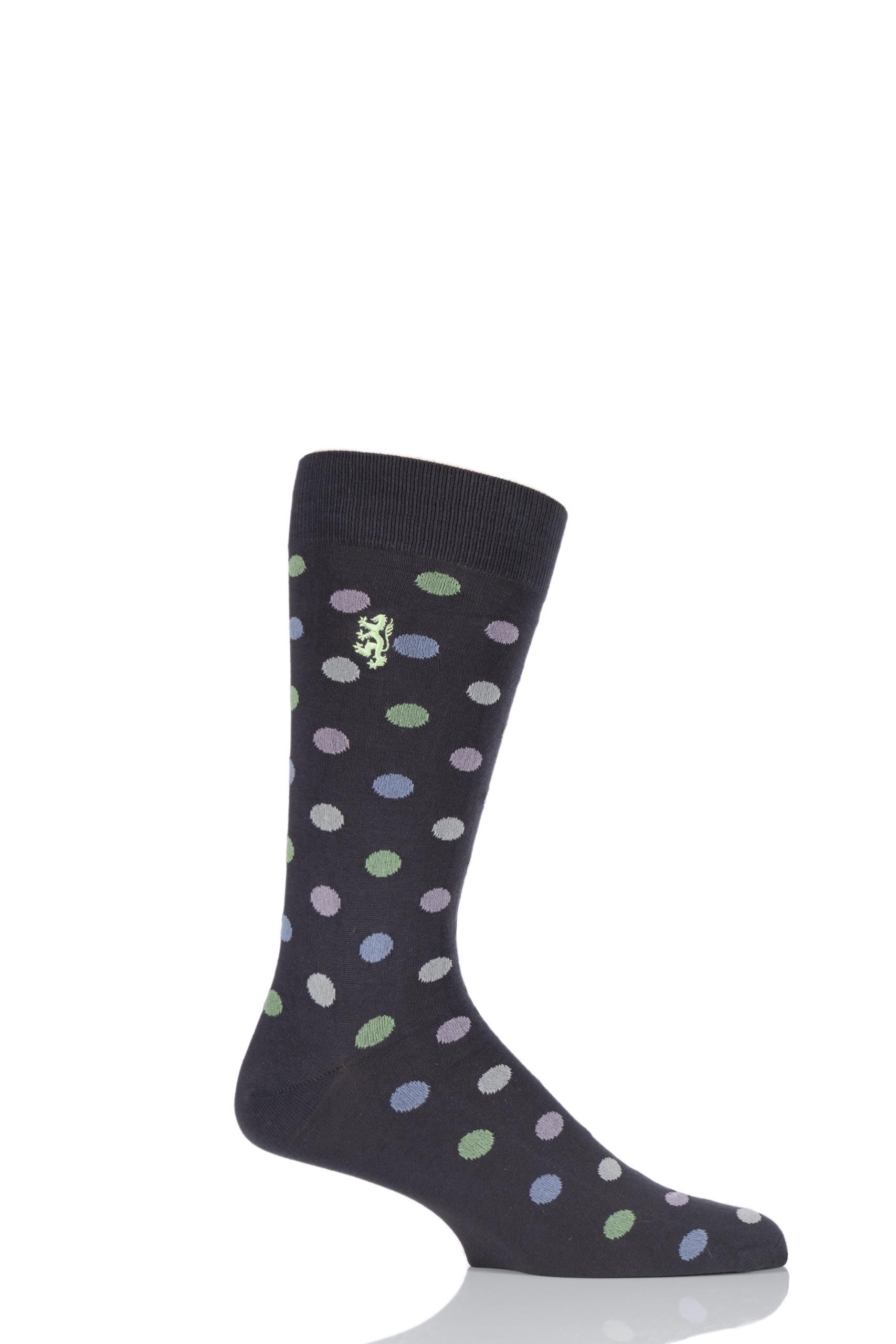Image of 1 Pair Charcoal 80% Sea Island Cotton Spots Socks Men's 6-8.5 Mens - Pringle of Scotland
