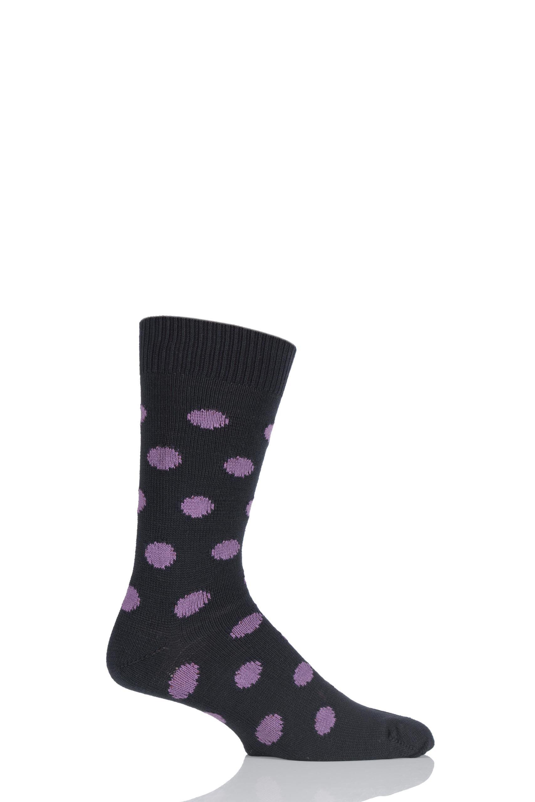 Image of 1 Pair Black / Plum 6 Gauge Cotton Spot Design Socks Men's 7-11 Mens - Pringle of Scotland