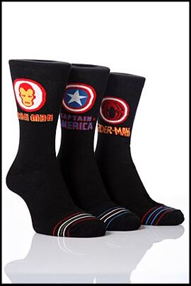 Shop Mens 3 Pair Marvel Heroes Ultimate Heroes Badge Socks 33% OFF >