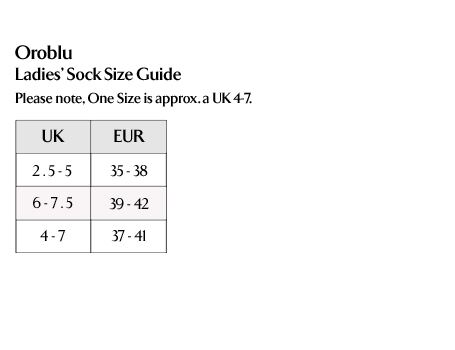 Oroblu - Ladies Socks Size Guide