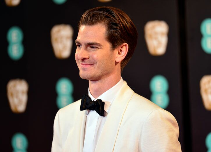Andrew Garfield going for the white tux look. Dominic Lipinski/PA Wire