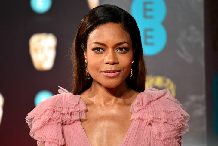 Naomie Harris brings 70s ruffles to the red carpet. Dominic Lipinski/PA