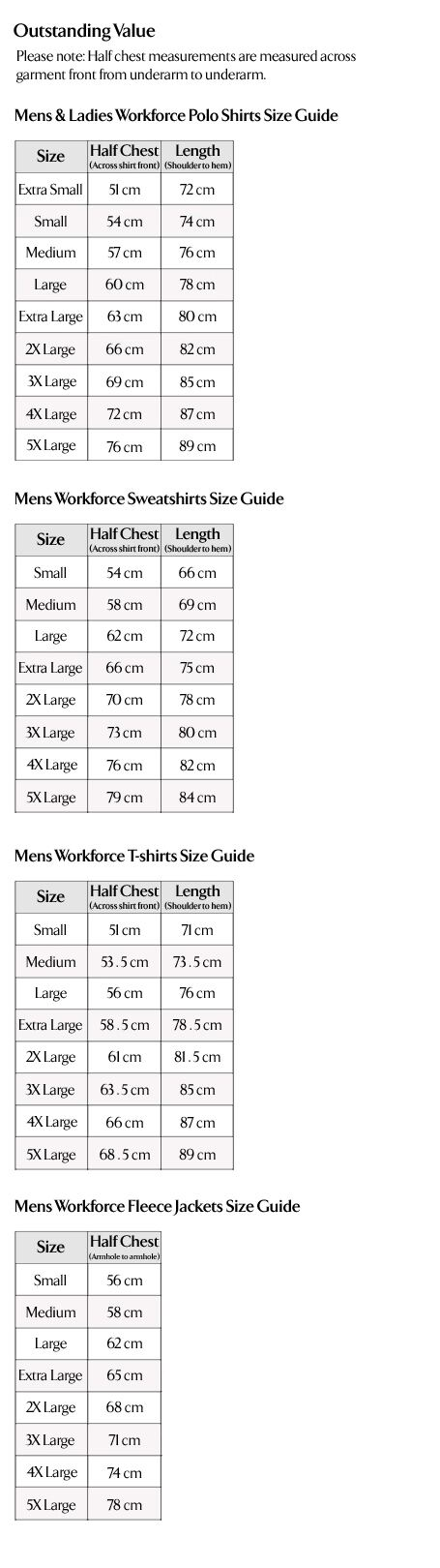 Outstanding Value Mens & Ladies Workforce Workwear Size Guide