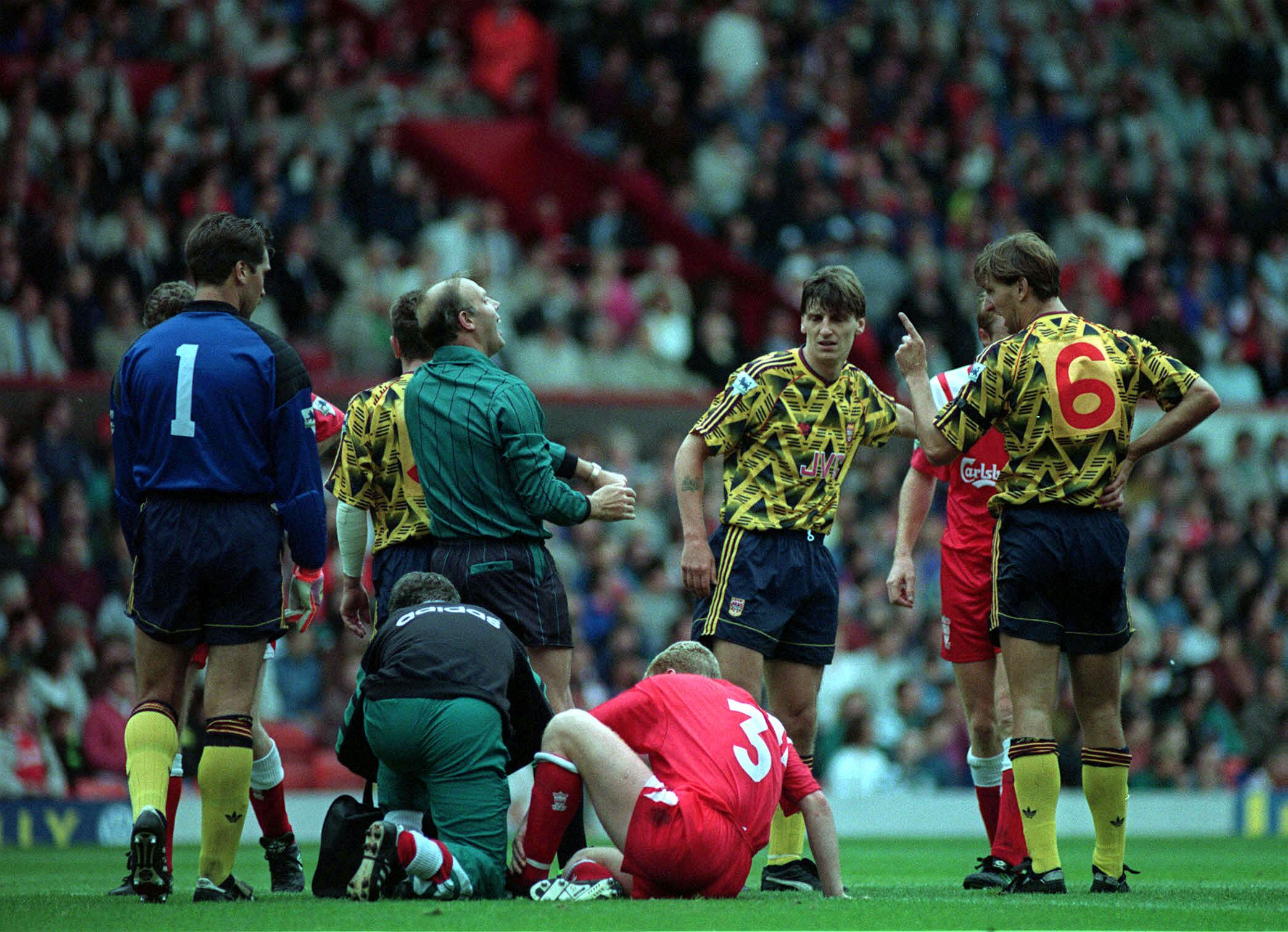 Tony Adams manages to pull of the Arsenal away kit…just