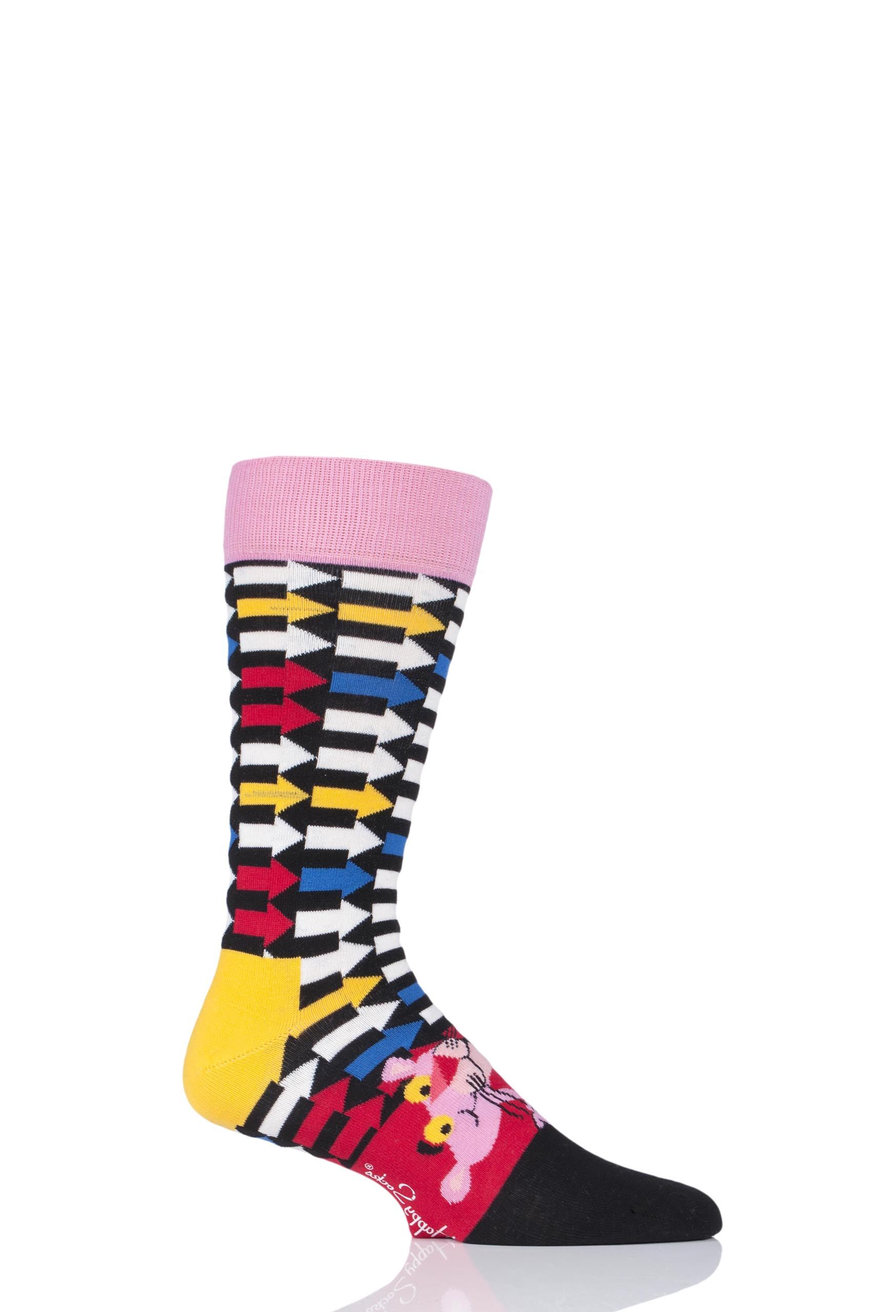 Image of 1 Pair Assorted Pink Panther Jet Pink Cotton Socks Unisex 4-7 Unisex - Happy Socks