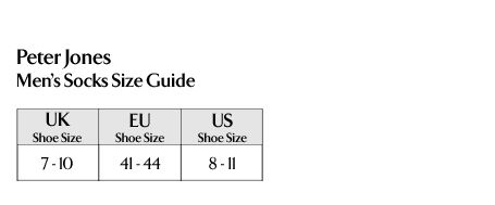 Peter Jones - Men's Socks Size Guide