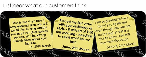 What our customers think at SockShop.co.uk- 1st April, 2009