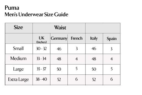Puma - Men's Underwear Size Guide