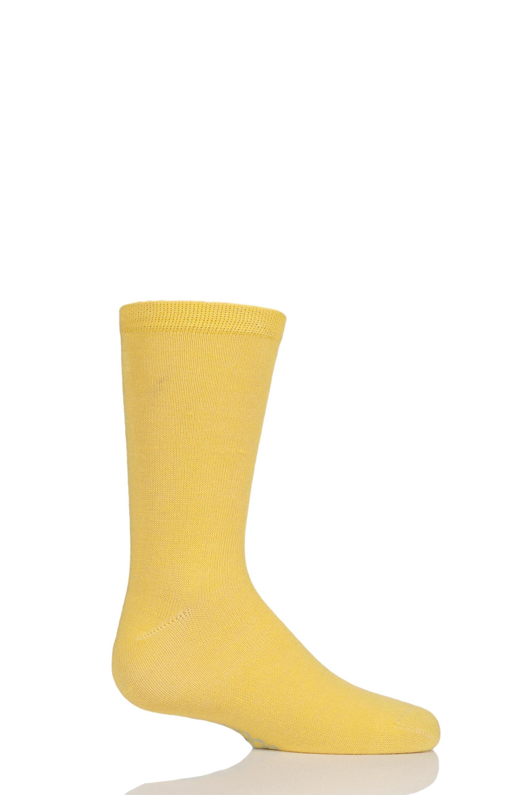 Image of 1 Pair Sunshine Yellow Plain Bamboo Socks with Comfort Cuff and Smooth Toe Seams Kids Unisex 6-8.5 Kids (1-3 Years) - SOCKSHOP
