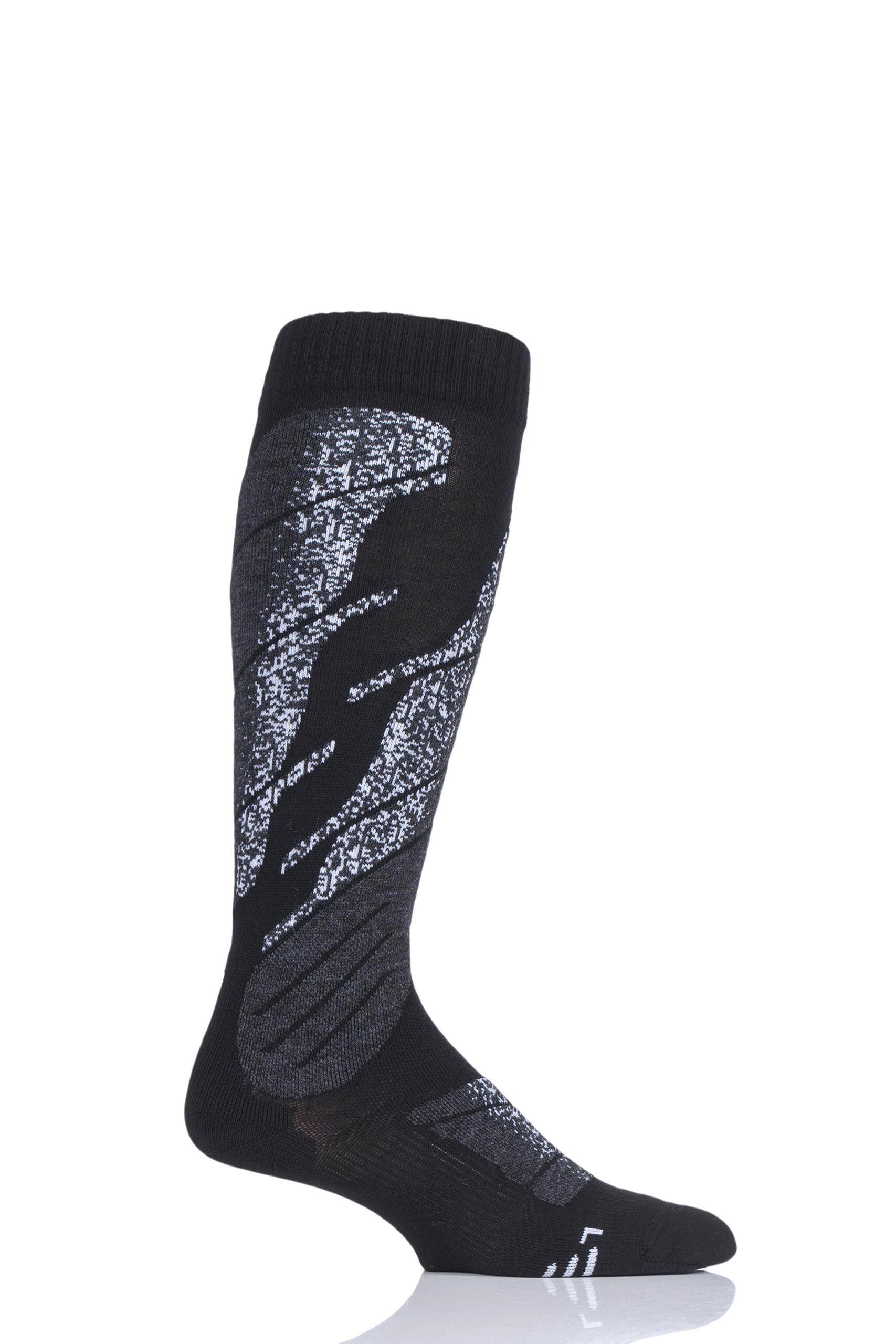 Image of 1 Pair Black All Mountain Ski Socks Men's 8-9.5 Mens - UYN
