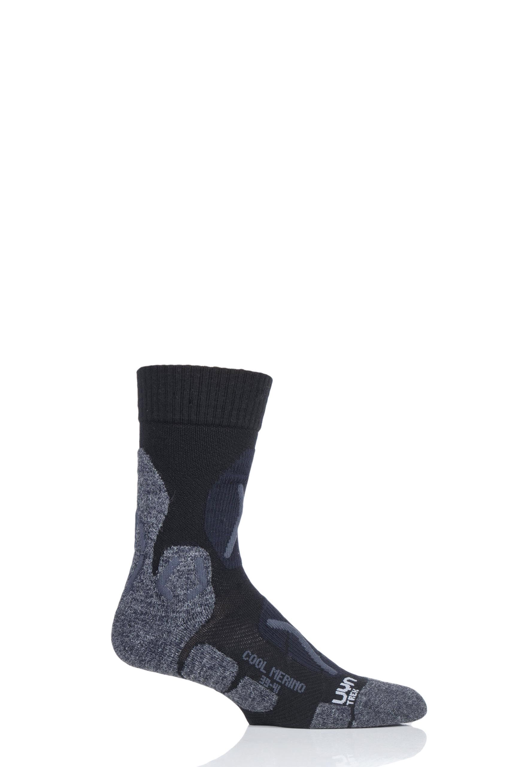 Image of 1 Pair Black Cool Merino Trekking Socks Men's 8-9.5 Mens - UYN
