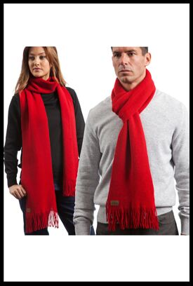Shop Mens and Ladies Hawick Knitwear Lambswool Plain Fringed Scarf In 9 Colours >