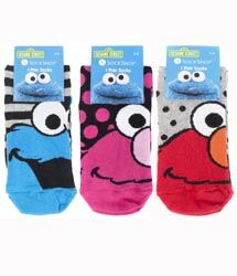 LADIES 3PAIR SOCKSHOP SESAME STREET SOCKS