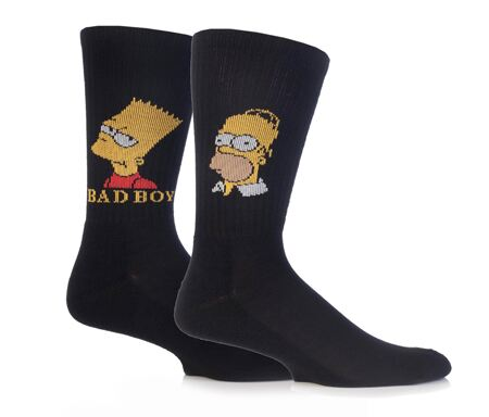 The Simpsons Homer and Bart character socks