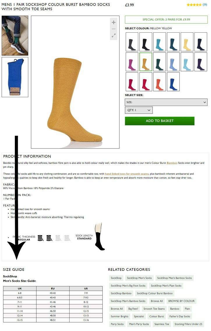 18fc0663b5 Sizes vary between different products and brands, so use this to check  which size is right for you. Size Guide. Socks
