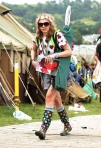 Socks under wellies: A Glasto trend