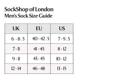 SockShop of London - Men's Socks Size Guide
