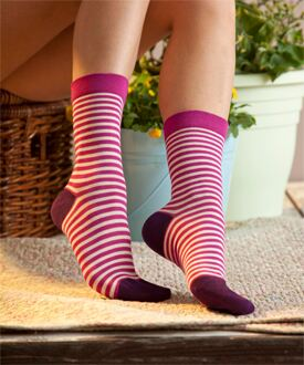 Ladies 3 Pair SockShop Gentle Grip Purple Stripe Bamboo Socks
