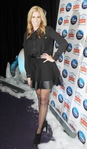 Stacey Solomon models sheer tights
