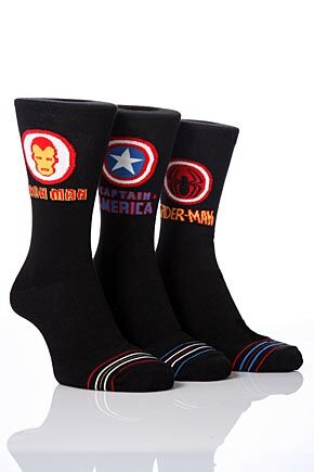Mens 3 Pair Marvel Heroes Ultimate Heroes Badge Socks 25% OFF >