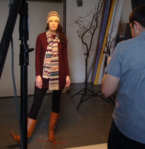 The gorgeous Suzanne modelling a lovely hat and scarf combo