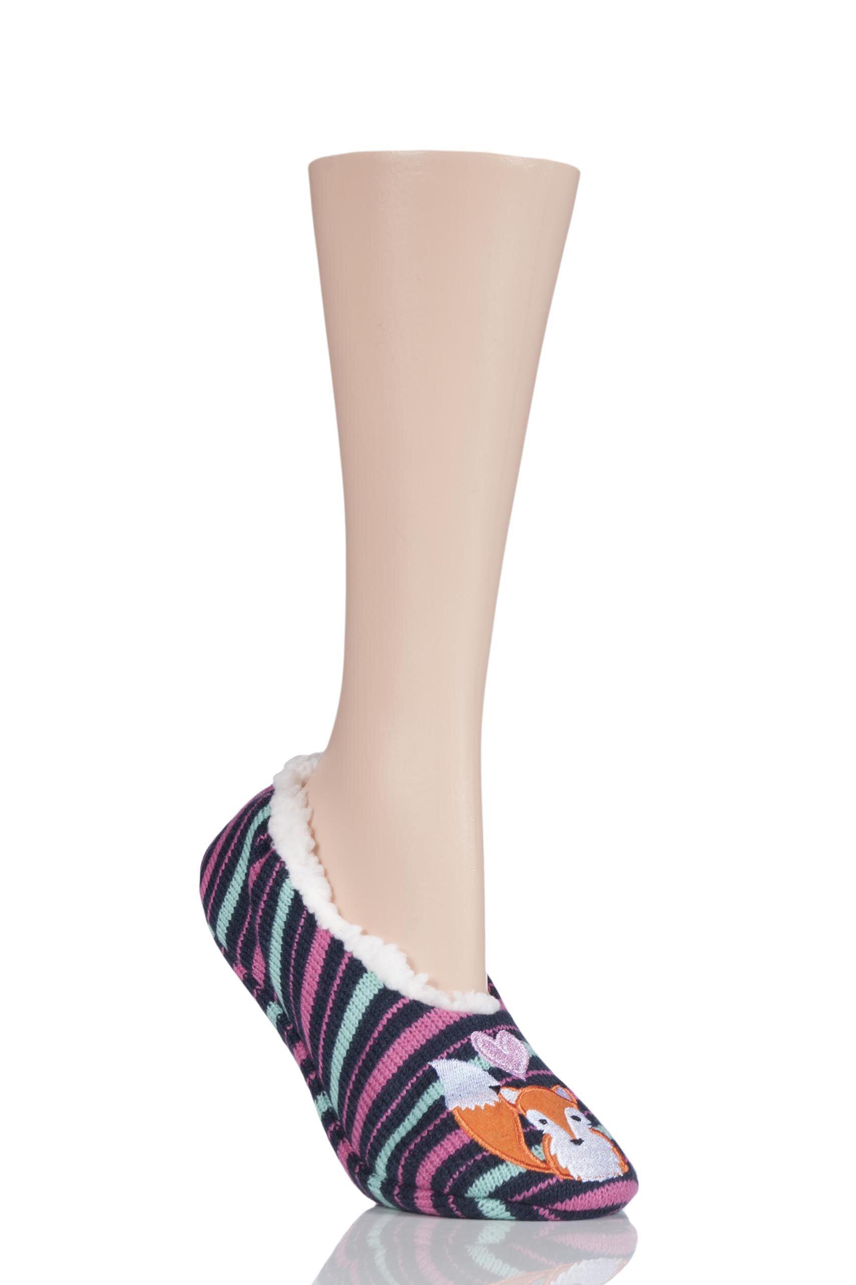 Image of 1 Pair Fox Fox Fleece Lined Knitted Slippers Ladies 4-8 Ladies - Wild Feet