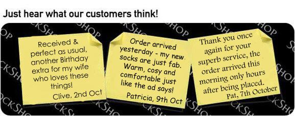What our customers think at SockShop.co.uk- 13th October 2009