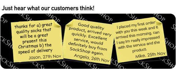 What our customers think at SockShop.co.uk- 1st December 2009