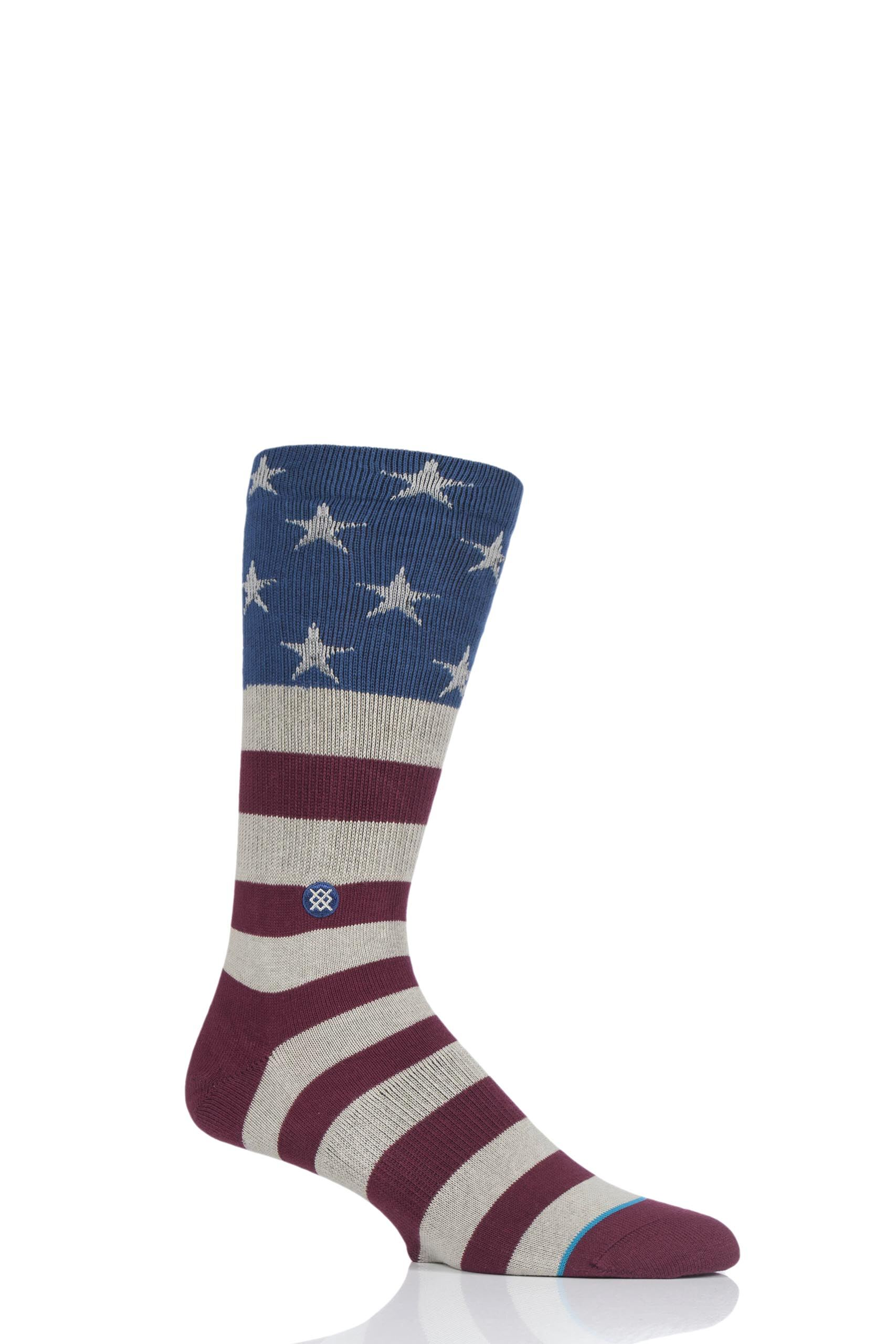 Image of 1 Pair Assorted The Fourth American Flag Cotton Socks Men's 5.5-8 Mens - Stance