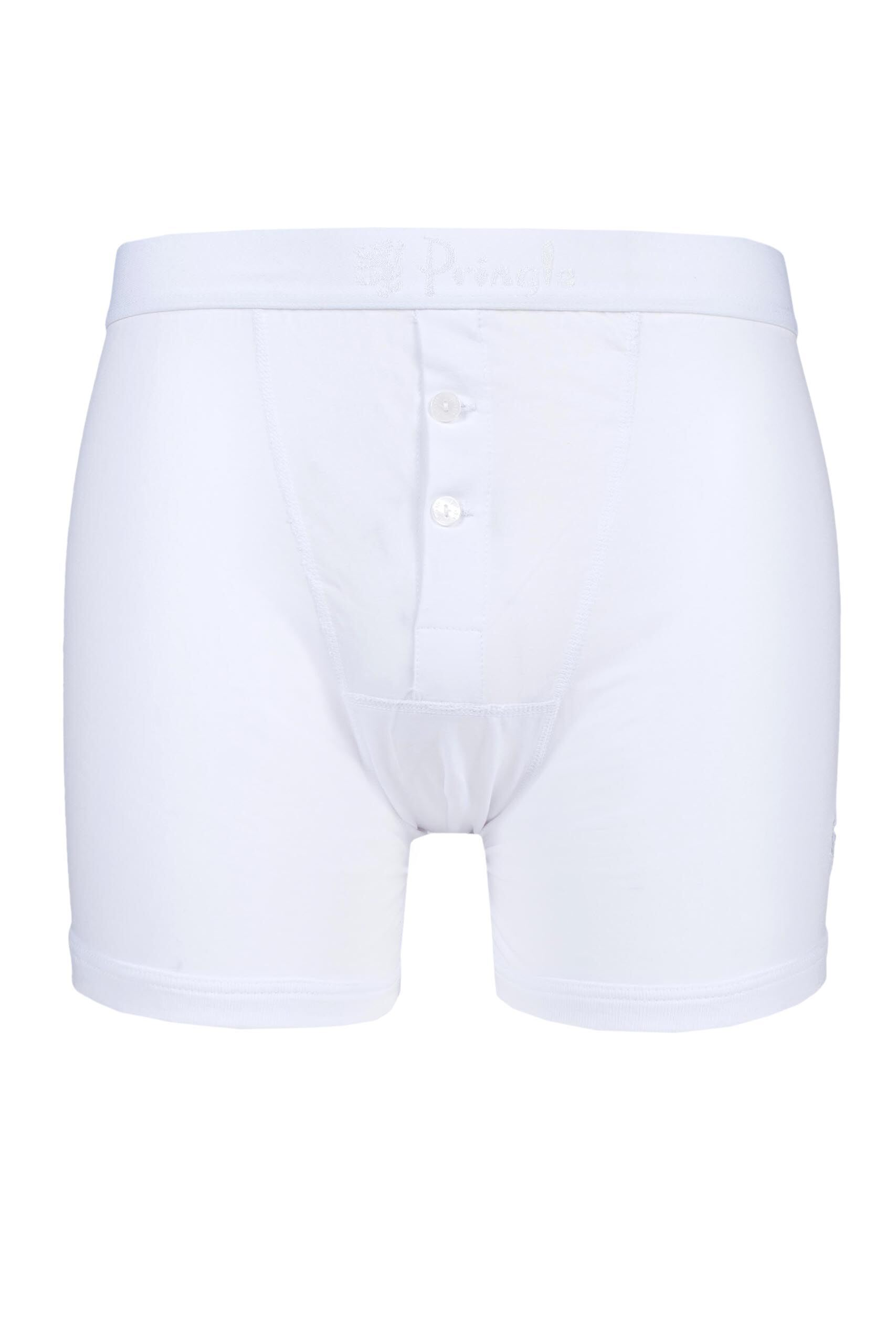 Image of 1 Pack White Button Fly Cotton Fitted Boxer Shorts Men's Extra Large - Pringle