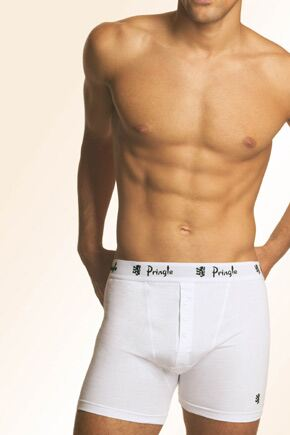 Mens 2 Pack Pringle 3 Button Knitted Cotton Fitted Boxer Shorts In 2 Colours White XXXL