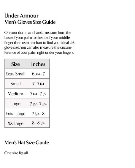 Under Armour Men's Gloves and Hats Size Guide