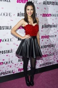 Victoria Justice rocks tights in NY