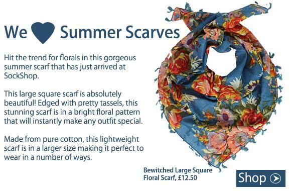Shop Bewitched Large Square Floral Scarf at SockShop