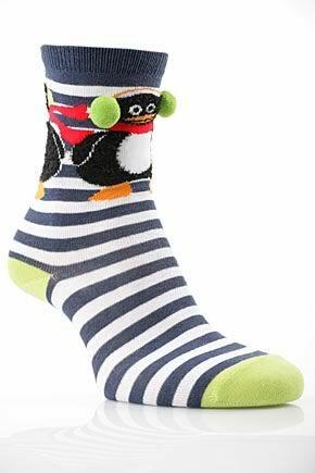 Girls 1 Pair SockShop Penguin Design Cotton Rich Socks