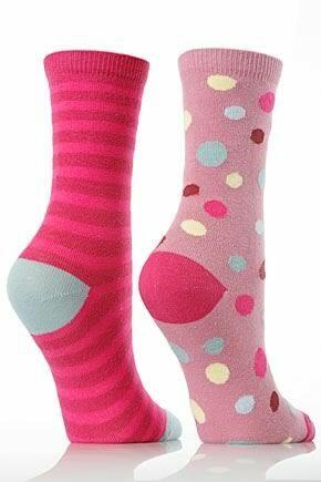 Girls 2 Pair SockShop Red Spot / Stripe Ankle Socks