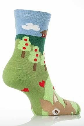 Girls 1 Pair SockShop Reindeer Fairytale Design Cotton Rich Socks