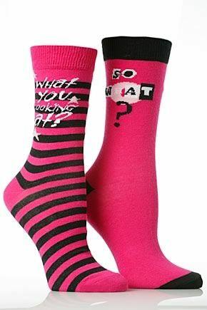 Girls 2 Pair SockShop Attitude Design Cotton Rich Socks