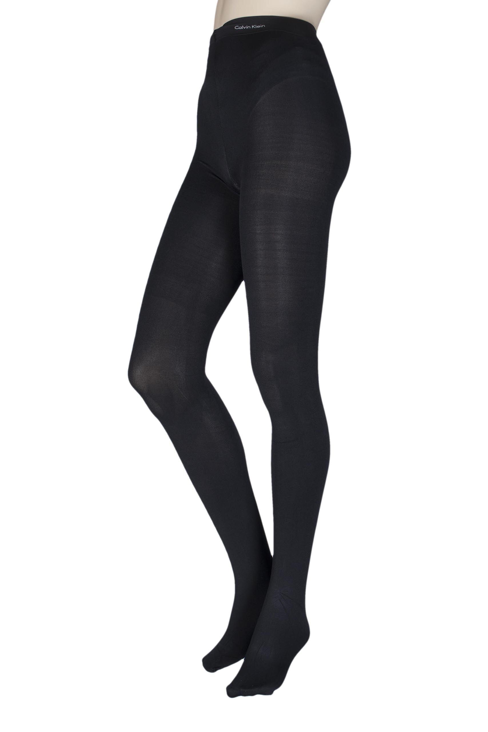 Image of 1 Pair Black Opaque Essentials Infinate Tights Ladies Large - Calvin Klein
