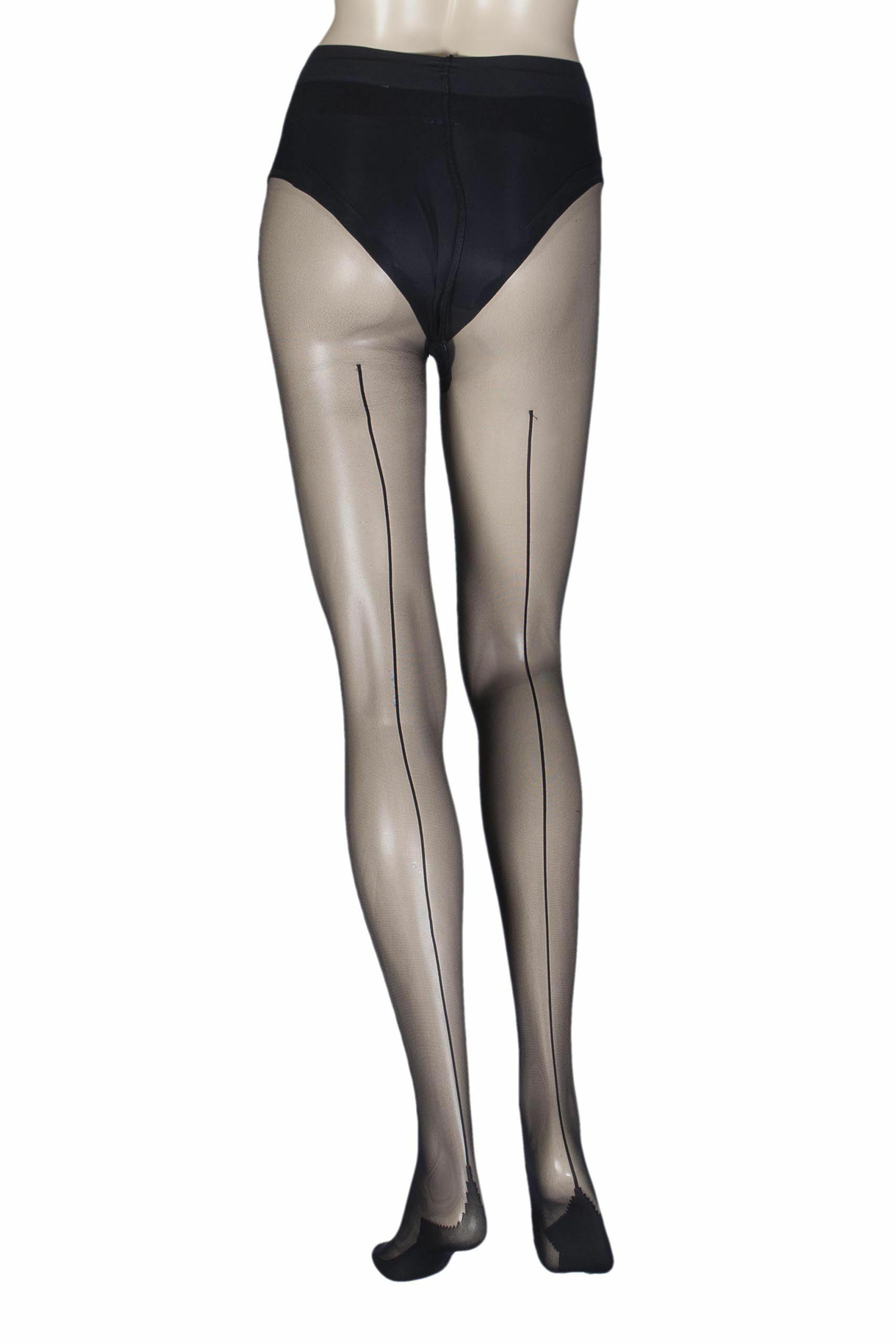 Image of 1 Pair Black Ultimate Sexy Sheer Back Seam Tights Ladies Large - Calvin Klein