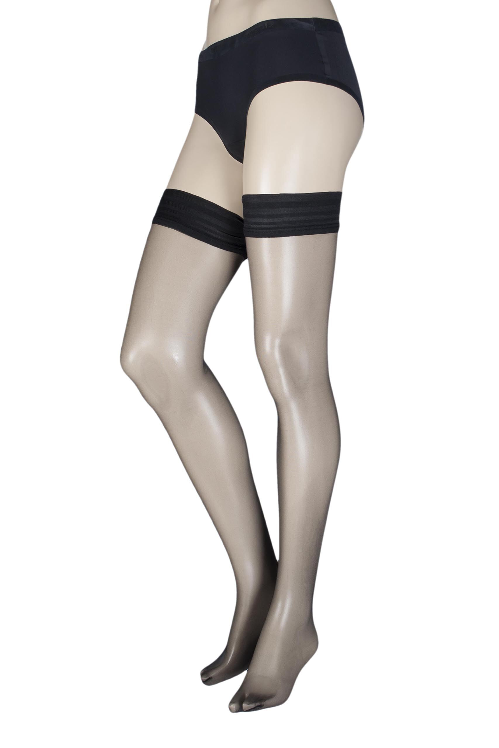 Image of 1 Pair Black Ultimate Sexy Sheer Hold Ups Ladies Small - Calvin Klein